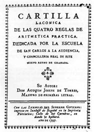 Portada de la Cartilla Lacónica de las quatro reglas de aritmética práctica. 1797